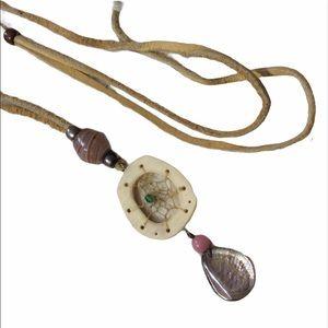 Dreamcatcher Abalone  Blown Glass Necklace